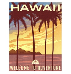 Retro style travel poster of Hawaii vector image vector image