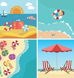 Summer beach in flat design sea side and beach vector image