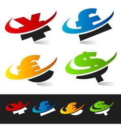 Swoosh Currency Logo Symbols vector image vector image