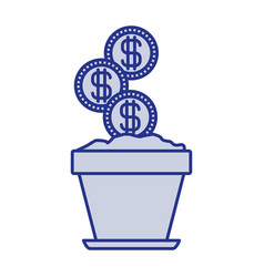 Blue silhouette of flower pot with set of coins vector