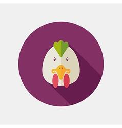 Chicken flat icon Animal head vector image vector image