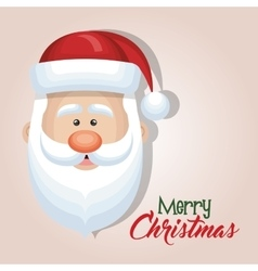 cute cartoon face santa claus merry christmas card vector image
