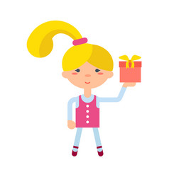 little girl with gift box icon vector image vector image