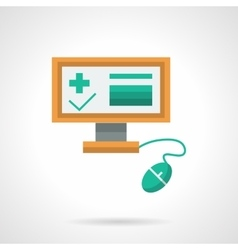 Medical exam online flat color icon vector image