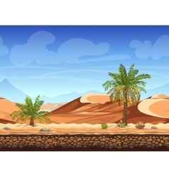 seamless background - palm trees in desert vector image
