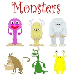 Set of fun cartoon monster creations vector image vector image