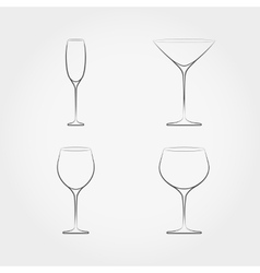 Simple set of classic stemware vector image vector image