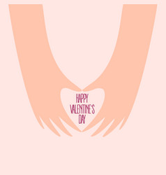 two female hands make heart on valentine day vector image