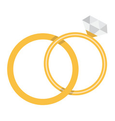 wedding rings flat icon valentines day vector image
