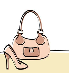 Abstract handbag and woman shoe vector image