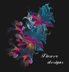 colorful floral with lily flowers vector image