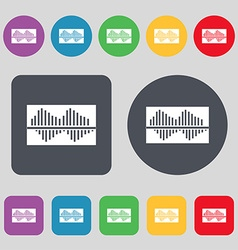 Equalizer icon sign A set of 12 colored buttons vector image