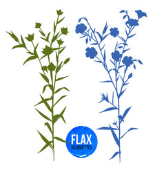 Hand drawn silhouettes of flax plant vector
