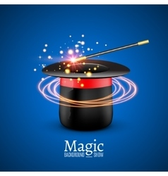 Magic Hat with Magic wand Magician vector image
