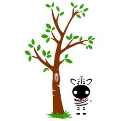 Tree and Zebra vector image vector image