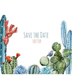 Watercolor cactus frame vector