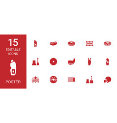 15 poster icons vector image