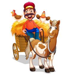 A farmer riding horse cart vector