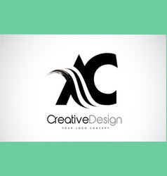 Ac a c creative brush black letters design with vector