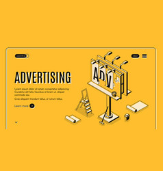 Advertising company isometric web banner vector