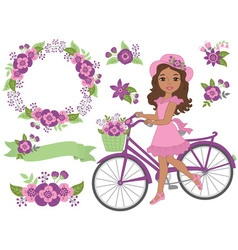 African American Girl with Bicycle vector image