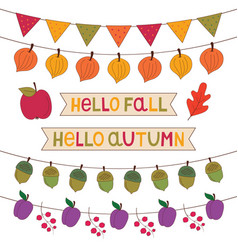 Autumn banners set isolated decoration set vector