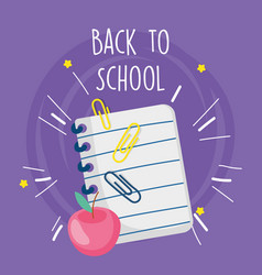 back to school education notepad clips and apple vector image