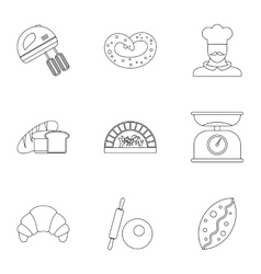 Bakery icons set outline style vector