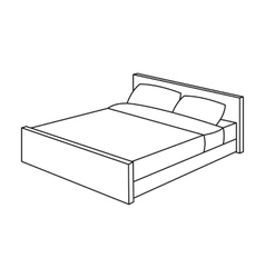 Bed icon in outline style isolated on white vector image
