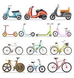 Bicycles and kick scooters wheel pedal vehicles vector
