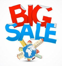 Big Sale Title with Earth - Globe and Houses on vector image