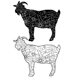 Black-and-white goats silhouettes vector