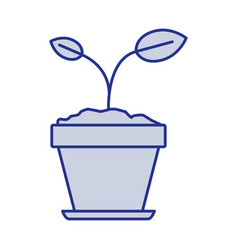 Blue silhouette of small plant in flower pot in vector