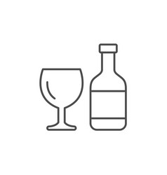 bottle and glass line outline icon vector image