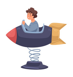 boy in rocket or spaceship in amusement park vector image
