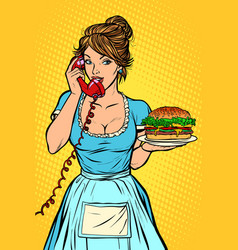 burger delivery hotel service waitress vector image