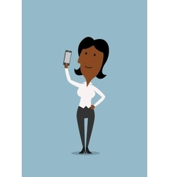 Businesswoman taking selfie with smartphone vector image