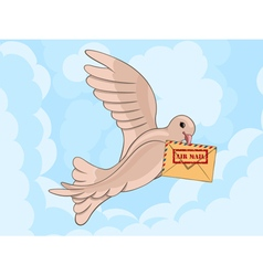 Carrier pigeon with envelop vector image