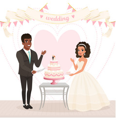 Cartoon caucasian bride and afro-american groom vector