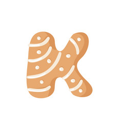 Cartoon ginger bread cookie letter k hand drawn vector