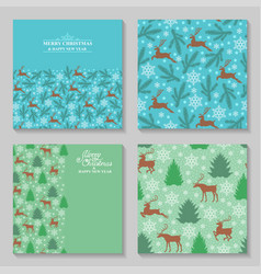 christmas cards with deer fir pine vector image