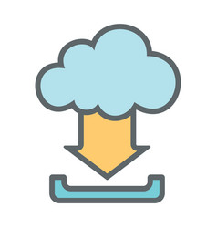 Cloud download flat icon sign logo vector