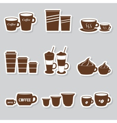 Coffee cups and mugs sizes variations stickers set vector