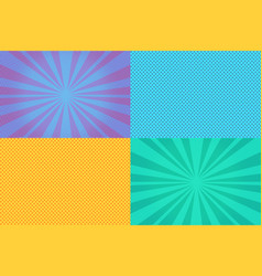 Collection of colored pop art retro backgrounds vector