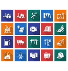Collection of square icons industries vector