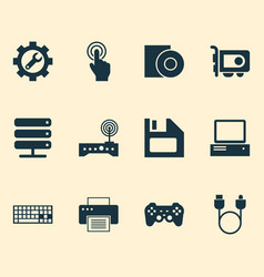 Computer icons set with floppy disk server disc vector