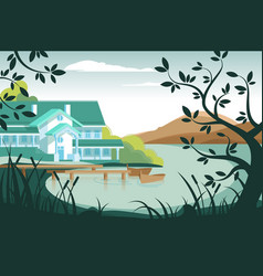 Country house on river bank vector