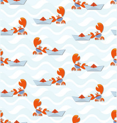 crab sailor and paper boat on waves vector image