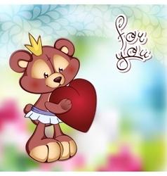 Cute Teddy bear in a tutu and vector
