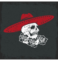 day the dead skull with flowers and sombrero vector image